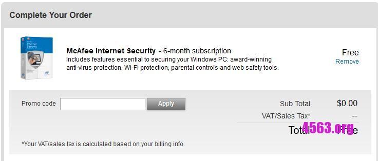 《McAfee Internet Security 免費6個月訂閱》