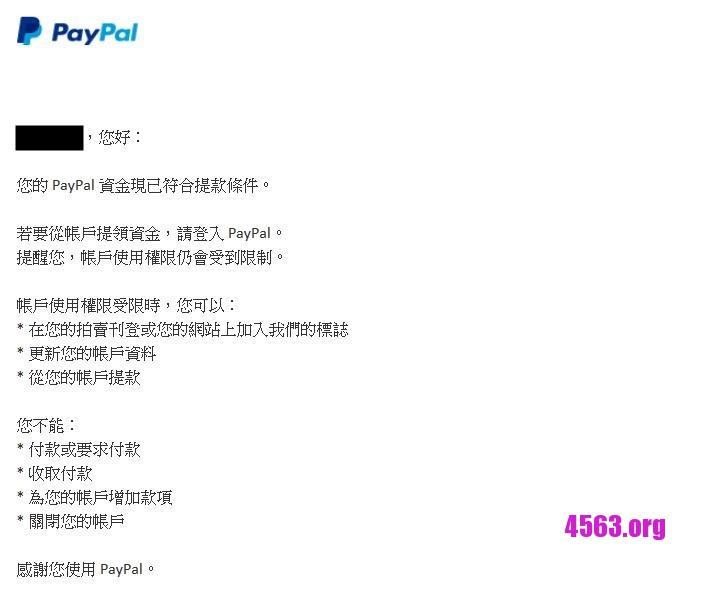 paypal帳戶被黑180天 , 準許提現~