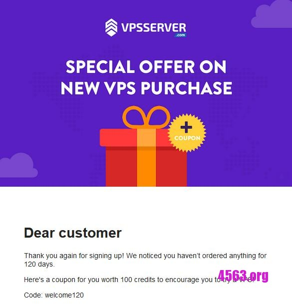 VPSServer加送100 credit給用戶使用 , 早前已上車讀者趕快去領~