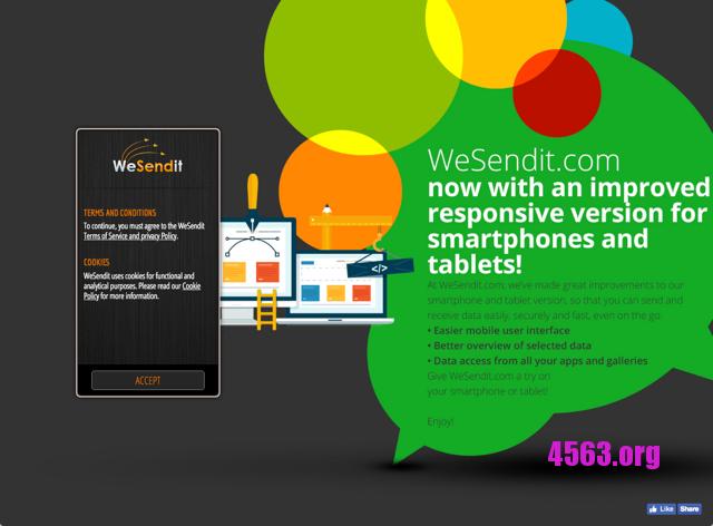 WeSendit 簡單、快速安全免費空間,支援單檔 5 GB 檔案可保存七天