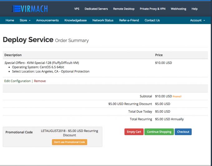 Virmach最新KVM VPS@洛杉矶,多机房@5美元/年