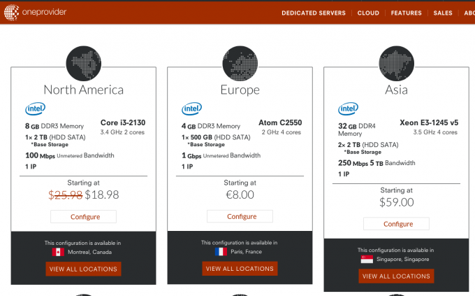OneProvider 法国服務器C2550/4G/500 1Gbps无限流量 €8