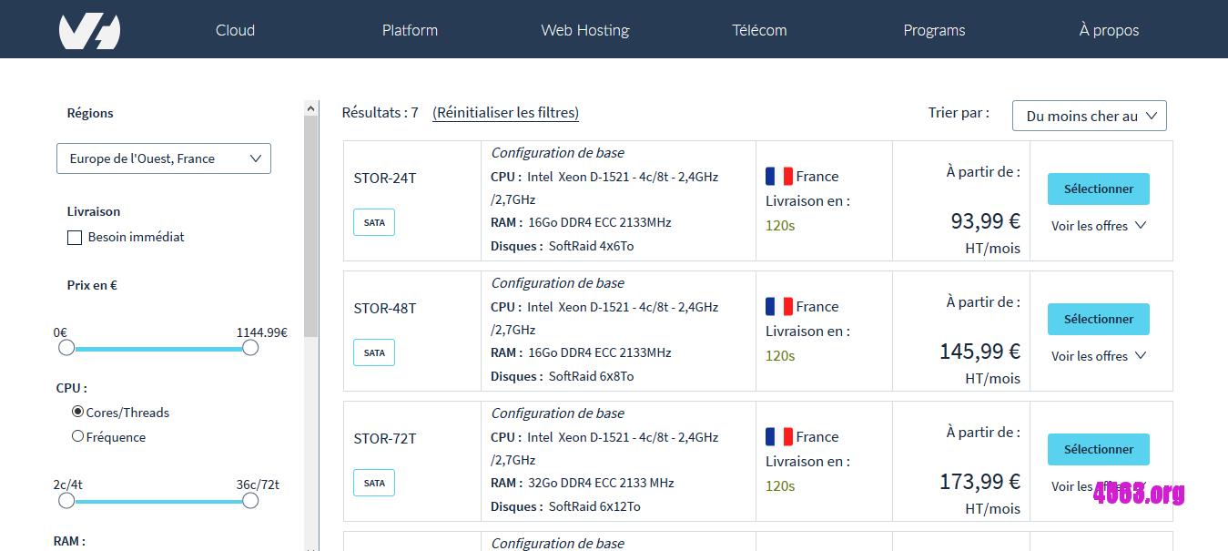 OVH存储型独服@Pentium G4400/8GB内存/6TB硬盘/不限流量/德国/英国/法国@€45/月