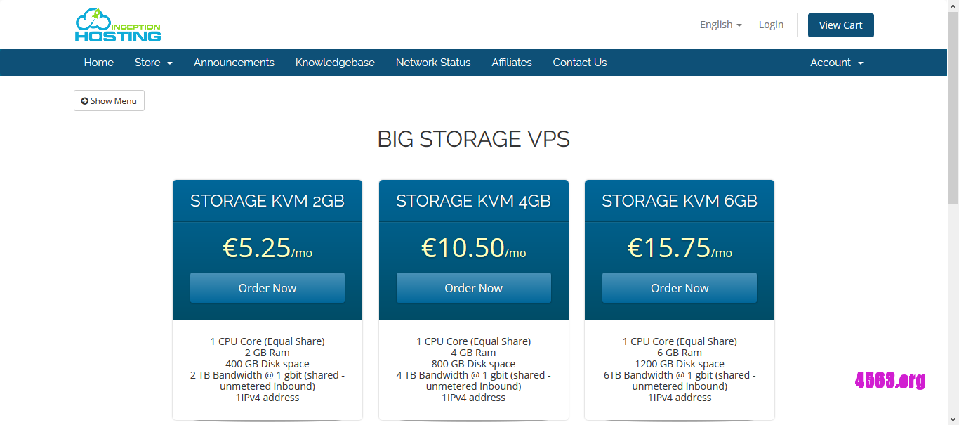 InceptionHosting凤凰城KVM VPS@2GB/400G/2T@€2.62/月