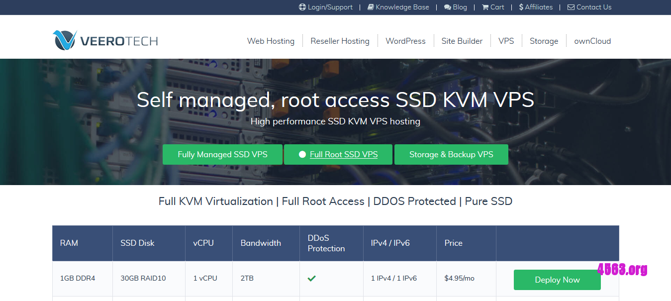VeeroTech纽约KVM VPS@1GB内存/30GB SSD空间/2TB流量/DDOS@$4.95/月