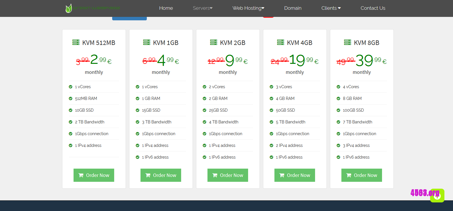 GreenWebPage欧洲KVM VPS -512MB/15GB SSD/3TB @ €2.54/月