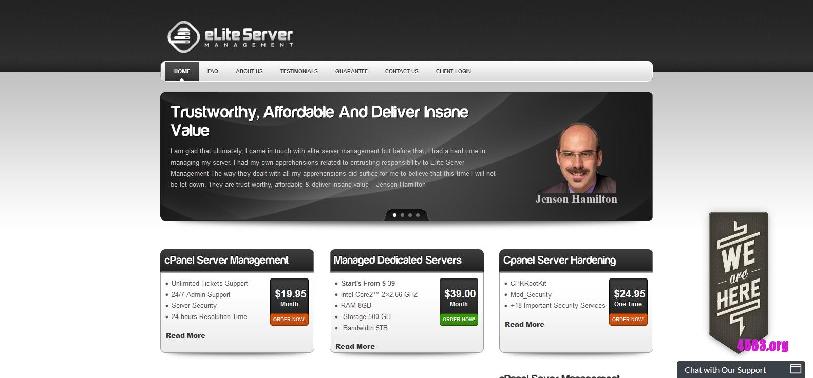 eLite Server Management美国独立服务器@Core2™ 5650/8GB内存/500GB硬盘/10TB流量@$19.5/月