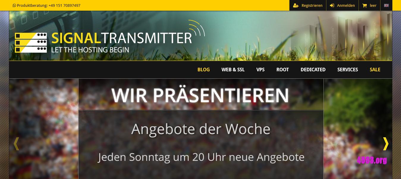 signaltransmitter德国KVM VPS@8GB内存/200GB空间/不限流量/DDOS@€5.49/月