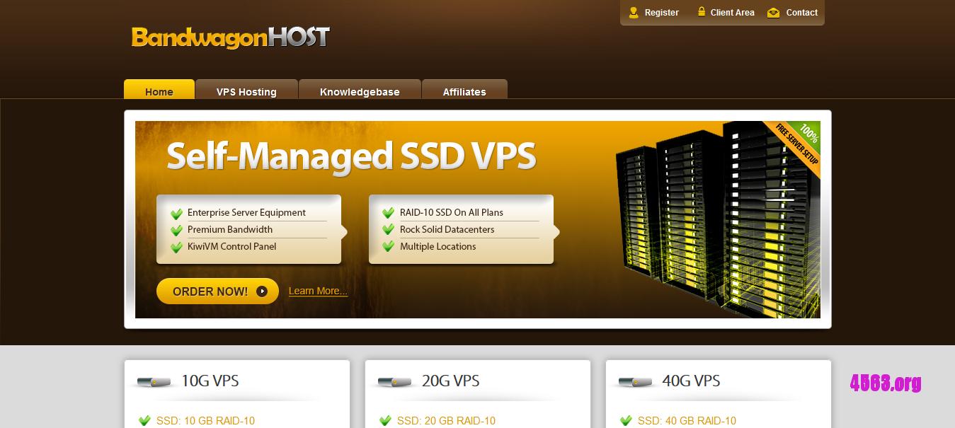 Bandwagonhost洛杉矶KVM VPS@2核/512M内存/10G SSD/300G流量/1G端口/CN2线路@$37.49/年