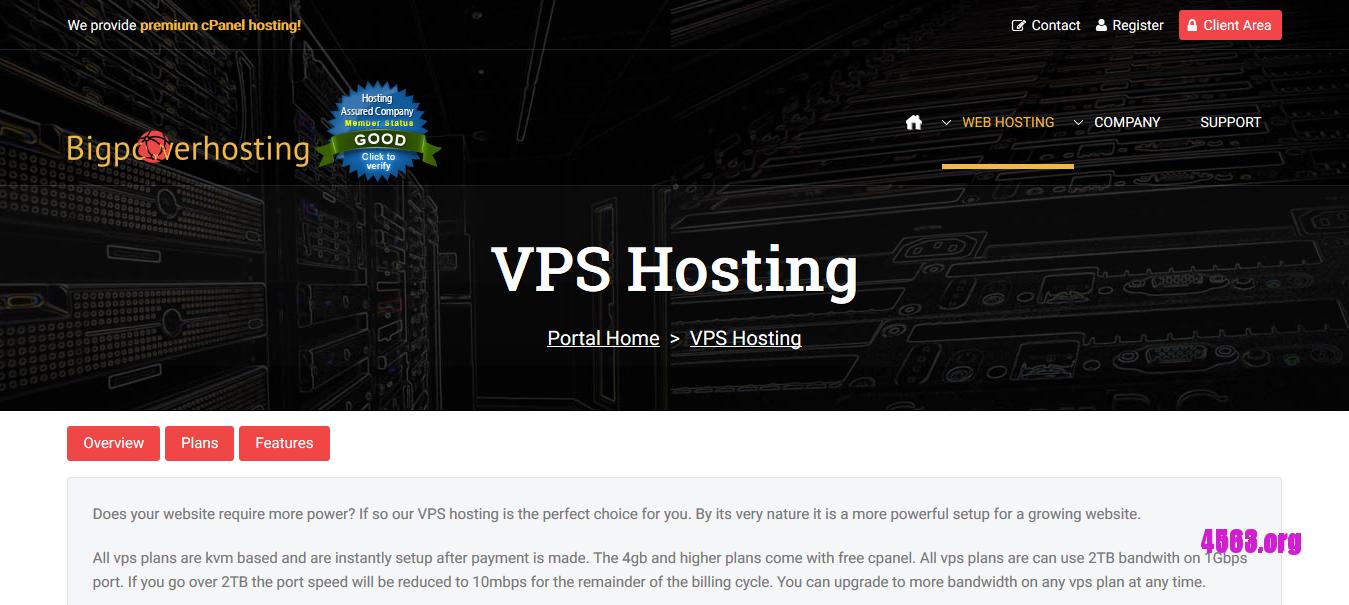 Bigpowerhosting洛杉矶KVM VPS@512MB/20G SSD/2T@$1.25/月