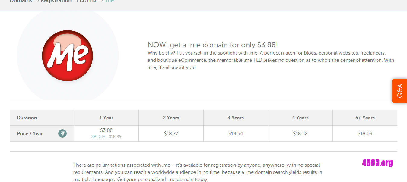 NameCheap域名优惠@$3.88首年註冊.me域名