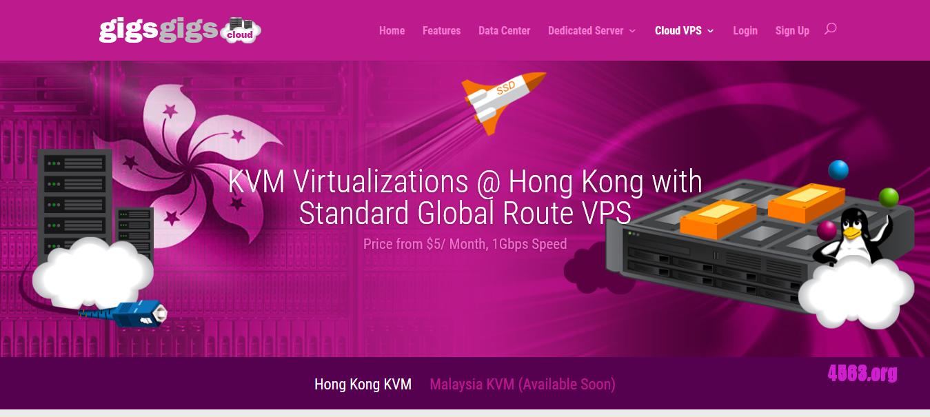 GigsGigsCloud香港KVM VPS@500MB/20G SSD/1T@$5/月