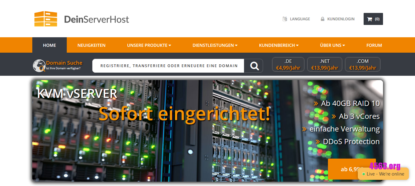 DeinServerHost德国VPS@1GB内存/300GB空间/5TB流量/DDOS/Windows@€3.95/月