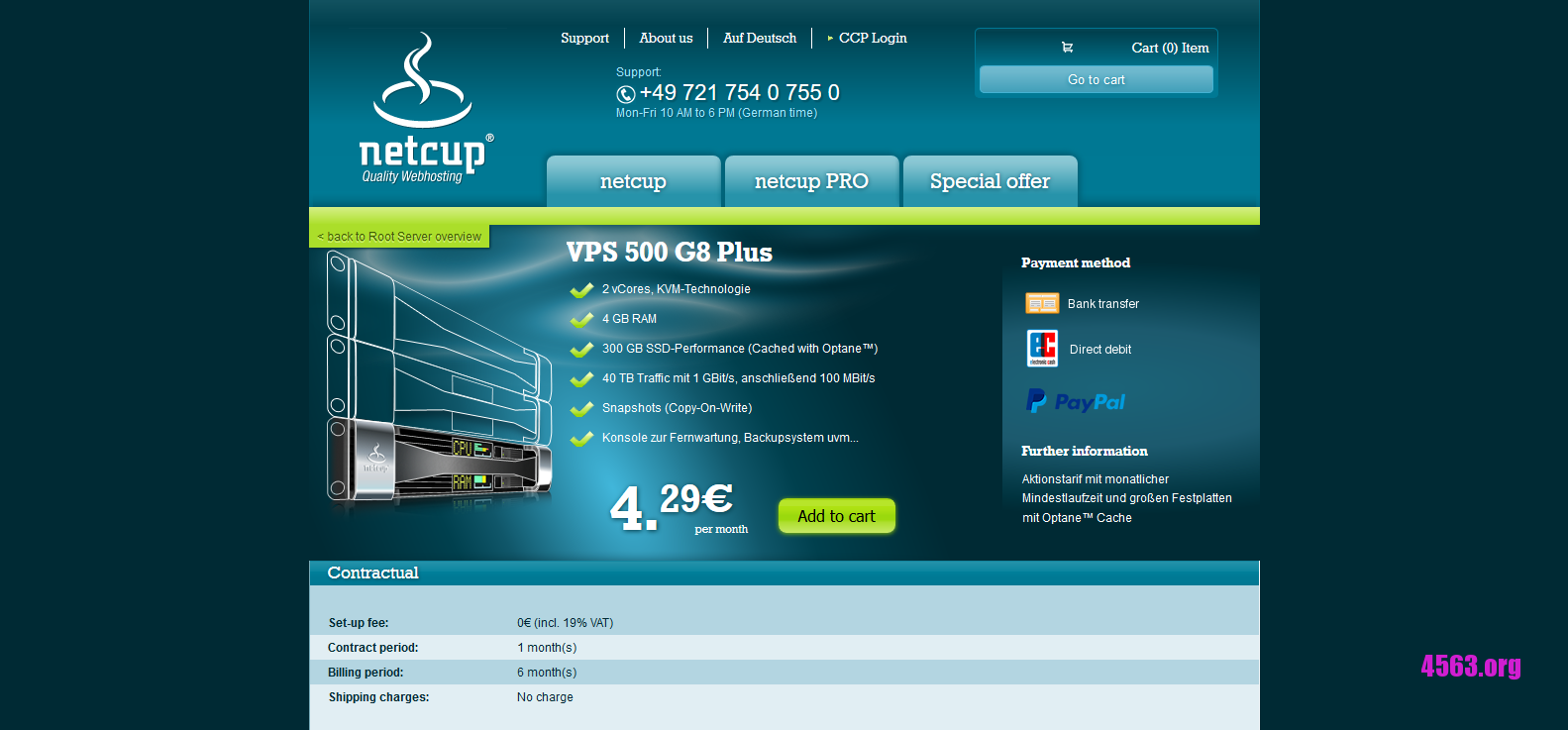 Netcup:€4.29/月/4GB内存/300GB SAS空间/40TB流量/KVM/德国/Snapshots