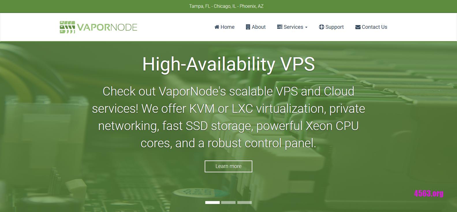 VaporNode:$5/月/2GB内存/20GB SSD空间/1TB流量/KVM/坦帕
