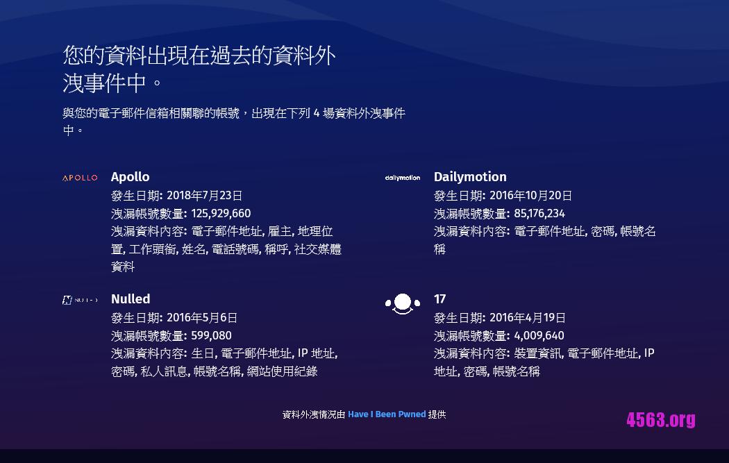 Firefox Monitor掃描你的郵箱關聯的網站帳戶有否外洩